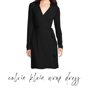 Calvin Klein   Black Long-Sleeve Wrap Dress 10